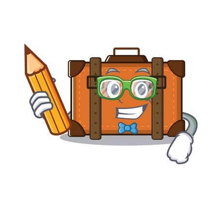 suitcase student holding pencil in the cartoon with mascot vector illustration