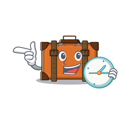 suitcase with bring clock in the cartoon with mascot vector illustration
