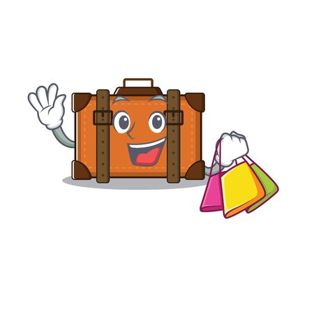 suitcase shopping in the cartoon with mascot vector illustration