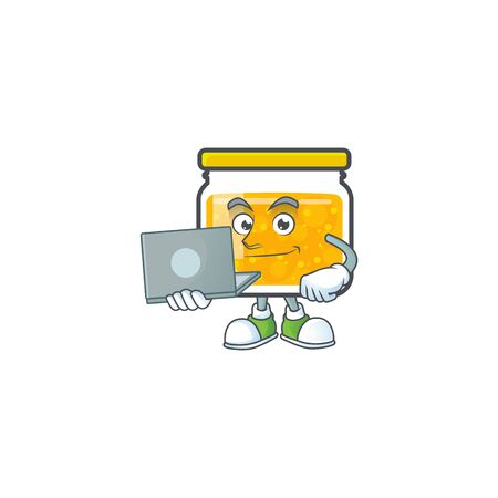 Sweet jam cartoon character with mascot with bring laptop vector illustration