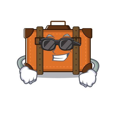 suitcase super cool in the cartoon with mascot vector illustration Ilustração