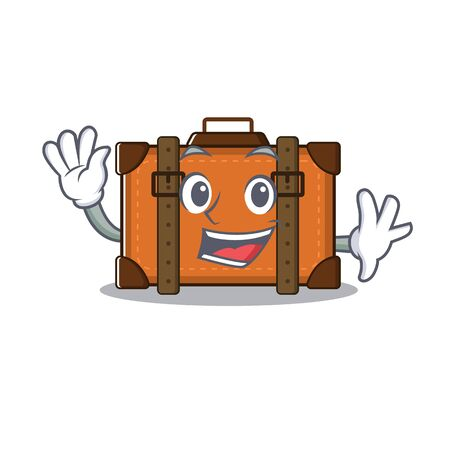 suitcase waving in the cartoon with mascot vector illustration