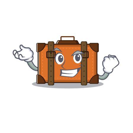 suitcase successful in the cartoon with mascot vector illustration Ilustração