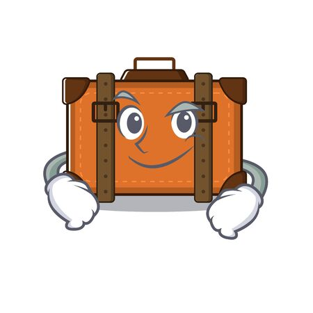 suitcase smirking in the cartoon with mascot vector illustration