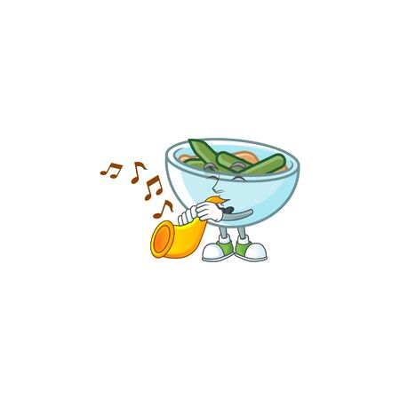 Green beans casserole on white background with trumpet mascot vector illustration