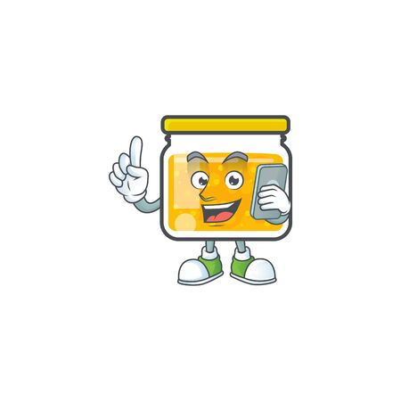Sweet jam cartoon character with mascot with holding phone vector illustration