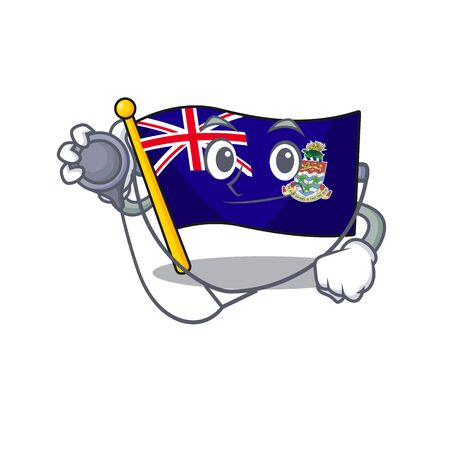 flag cayman doctor islands on the mascot vector illustration
