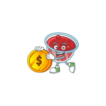 Sweet canberries sauce with cartoon style bring coin. Vector illustration