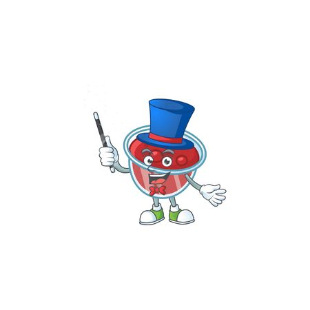 Sweet canberries sauce with cartoon style magician. Vector illustration Foto de archivo - 133484948