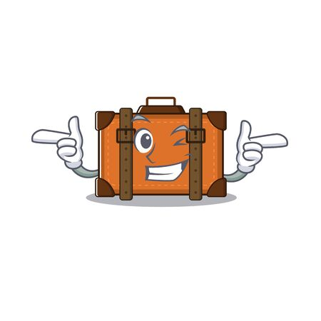 suitcase wink in the cartoon with mascot vector illustration