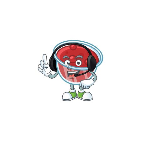 Sweet canberries sauce with cartoon style with headphone. Vector illustration