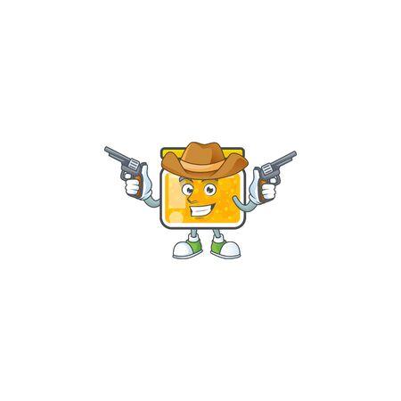Sweet jam cartoon character with mascot cowboy vector illustration