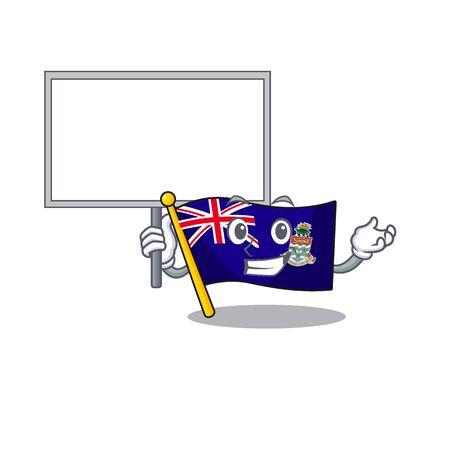 flag cayman bring board islands on the mascot vector illustration