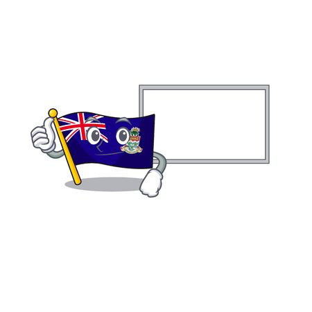 flag cayman thumbs up with board islands on the mascot vector illustration