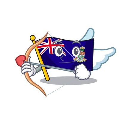 flag cayman cupid islands on the mascot vector illustration