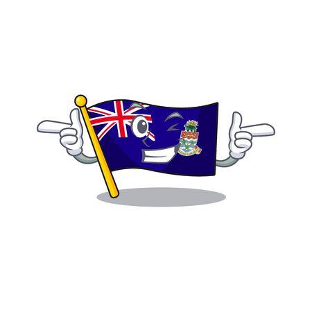 flag cayman islands isolated wink with cartoon vector illustrtaion