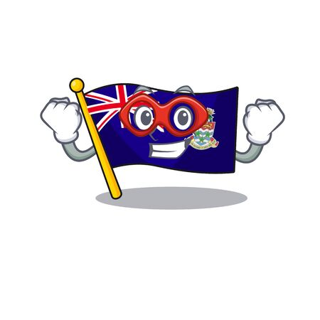 flag cayman islands isolated super hero with cartoon vector illustrtaion 矢量图像