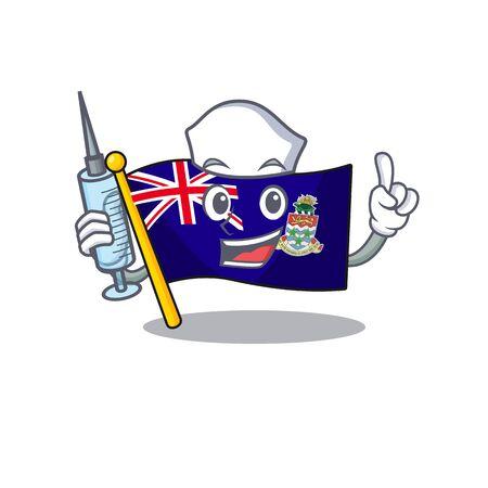 flag cayman islands isolated nurse with cartoon vector illustrtaion