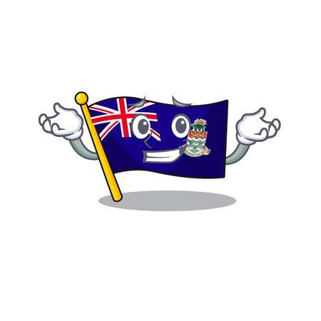 flag cayman islands isolated grinning with cartoon vector illustrtaion
