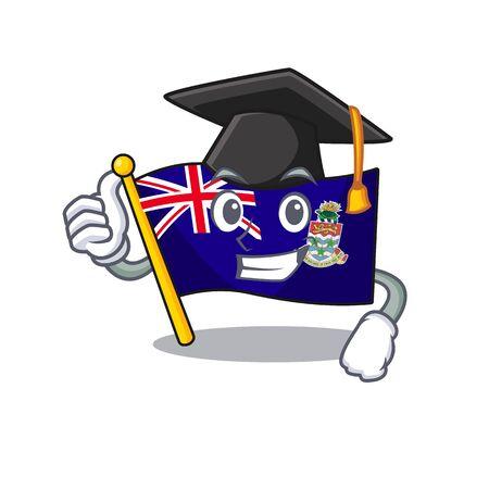 flag cayman islands isolated graduation hat with cartoon vector illustrtaion