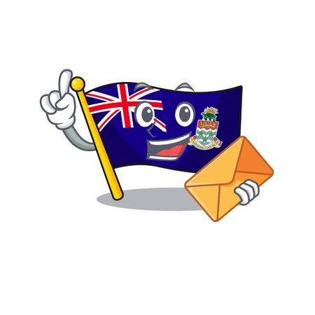 flag cayman islands isolated bring envelope with cartoon vector illustrtaion