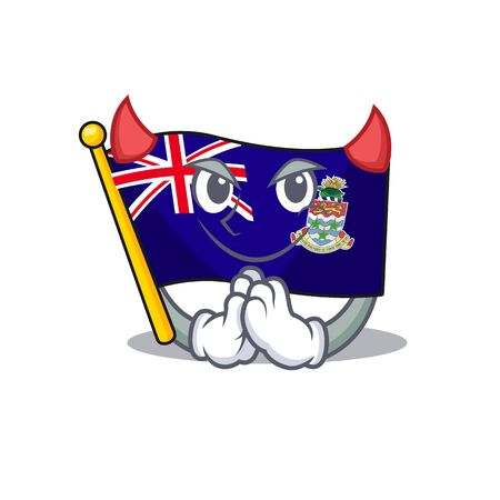 flag cayman islands in character shape devil vector illustration