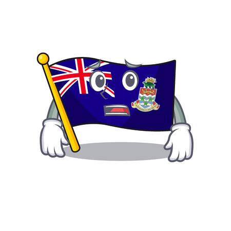 flag cayman islands in character shape afraid vector illustration Ilustração
