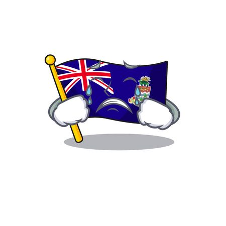 flag cayman islands in character shape crying vector illustration