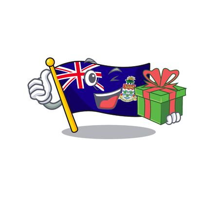 flag cayman islands in character shape holding gift vector illustration