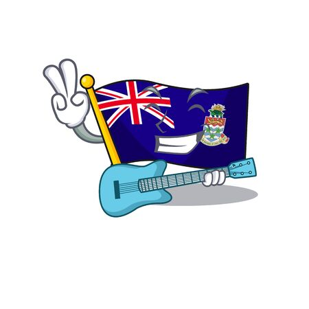 flag cayman islands in character shape with guitar vector illustration