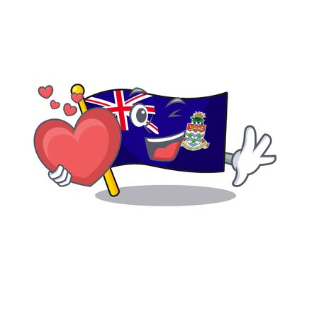 flag cayman islands in character shape holding heart vector illustration