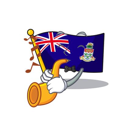 flag cayman islands in character shape with trumpet vector illustration