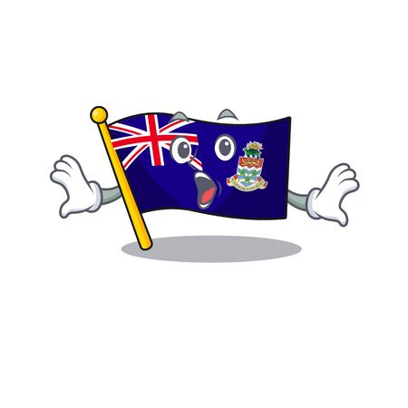 flag cayman islands in character shape surprised vector illustration
