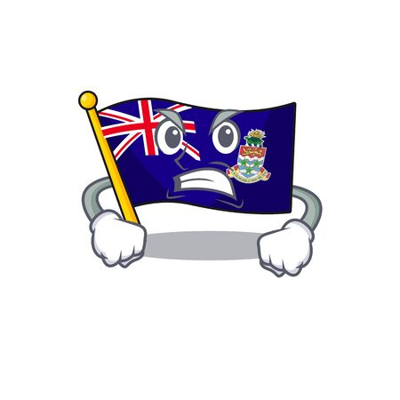 flag cayman islands in character shape angry vector illustration