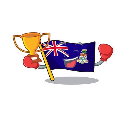 boxing winner happy flag cayman islands with cartoon vector illustration