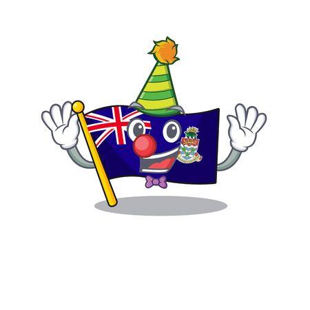clown happy flag cayman islands with cartoon vector illustration