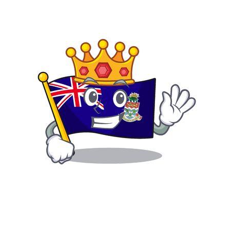 king happy flag cayman islands with cartoon vector illustration