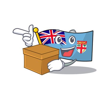 flag fiji cartoon with bring box with the shape vector illustration