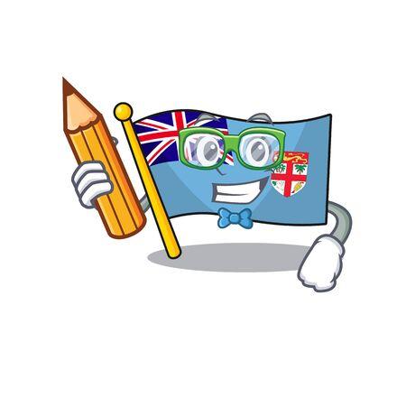 flag fiji cartoon student holding pencil with the shape vector illustration