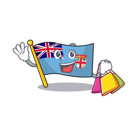 flag fiji cartoon shopping with the shape vector illustration