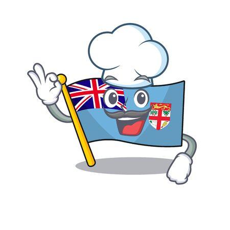 flag fiji cartoon chef with the shape vector illustration