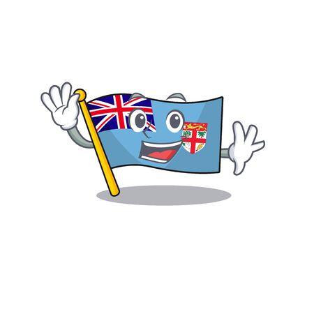 flag fiji cartoon waving with the shape vector illustration