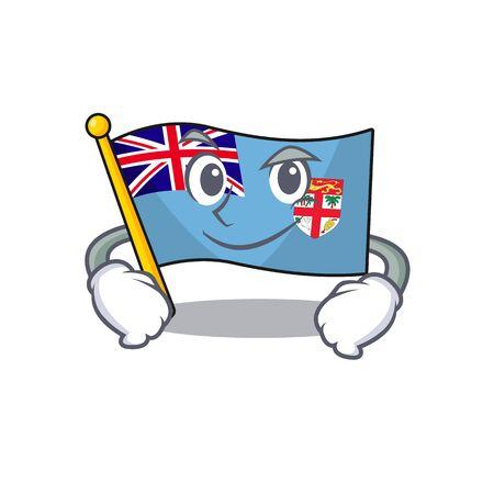flag fiji cartoon smirking with the shape vector illustration Stock Vector - 133486660