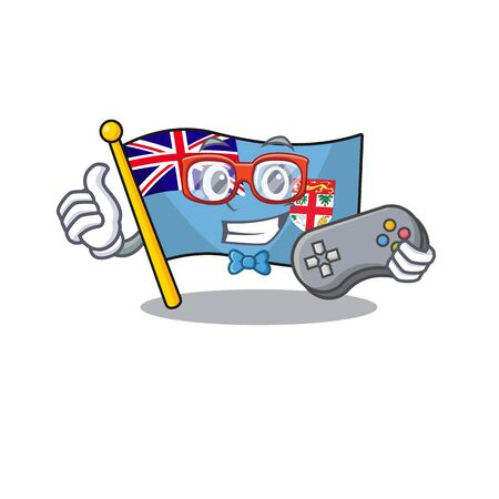 illustration holding gamer flag fiji with character cute. vector illustration
