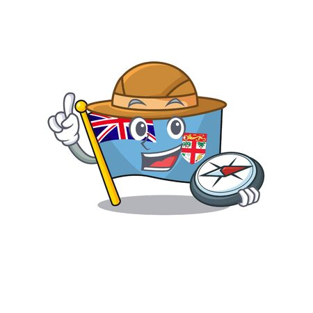 illustration holding compass flag fiji with character cute. vector illustration