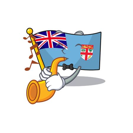 illustration with trumpet flag fiji with character cute. vector illustration 일러스트