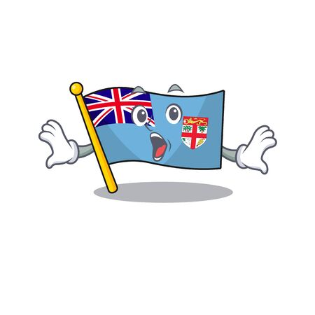 illustration surprised flag fiji with character cute. vector illustration