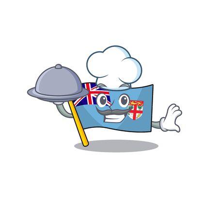 illustration chef holding food flag fiji with character cute. vector illustration Ilustracja