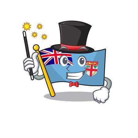 happy flag fiji cartoon with magician character vector illustartion
