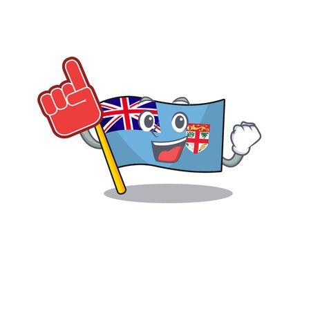 happy flag fiji cartoon with foam finger character vector illustartion